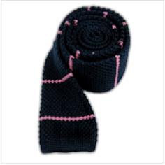 Knit Tie Black purple stripes