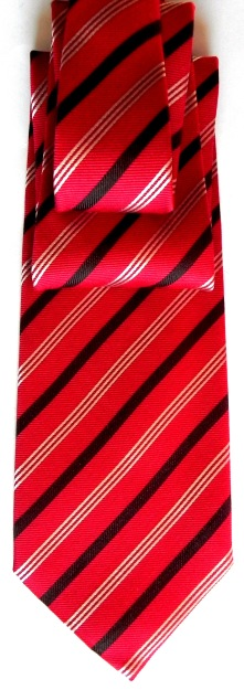 Silk/cashmere striped tie in red