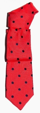 Silk red tie with polka dots.