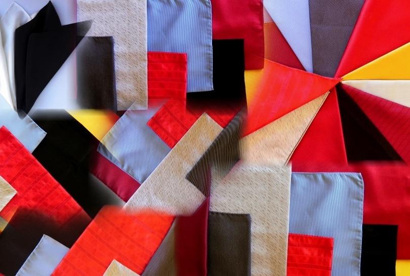 silk pocket squares, silk ties, silk clothes accessories.