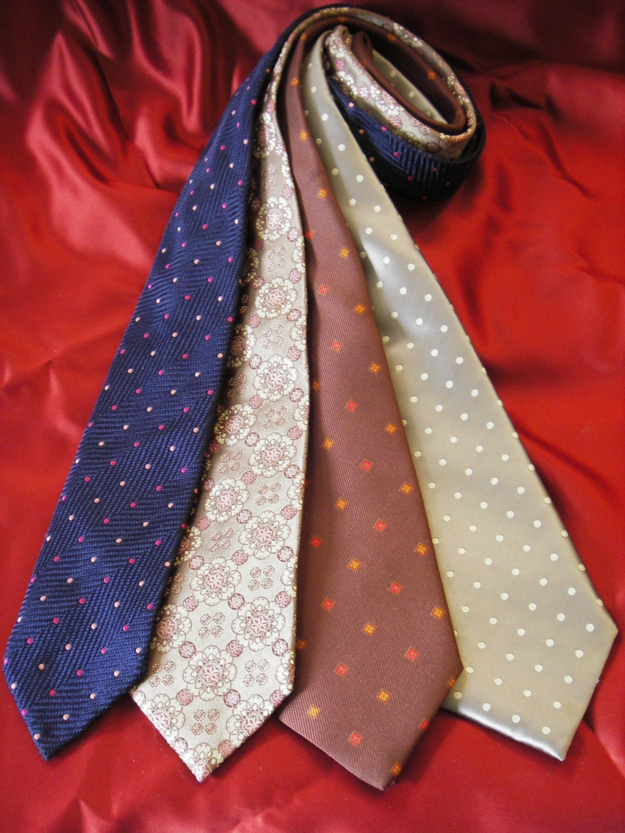 Fashion accessories store, silk ties, bow ties, scarves.