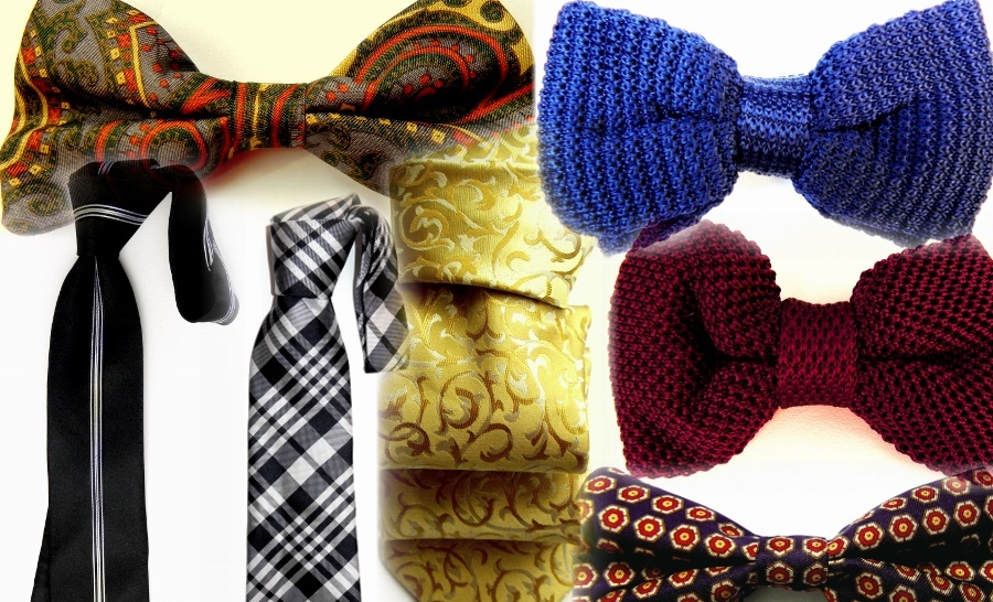 Silk ties, bow ties, fashion accessories.