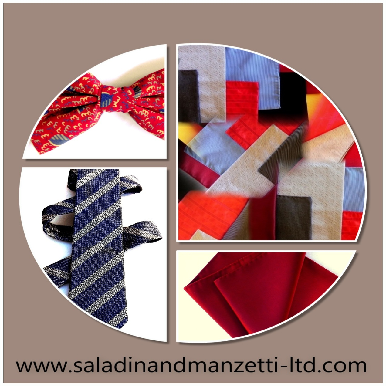 Silk ties, bow ties, scarves, pocket squares, fashion accessories.